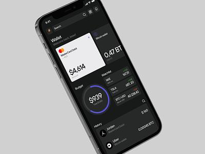 E_Wallet Concept crypto ethereum mobile app figma cryptowallet wallet gray black clean dark bitcoin design web ui