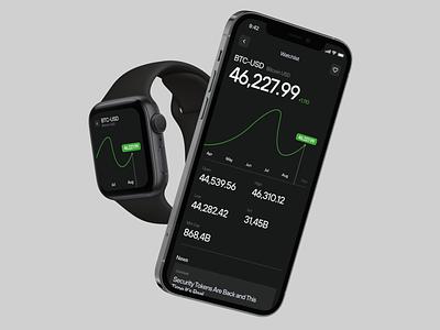 E_Wallet – Watchlist applewatch dark black application app bank cryptowallet crypto graph uiux ux design clean watchlist watch mobile bitcoin wallet web ui
