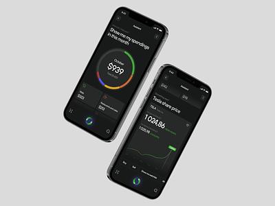E_Wallet – Voice Assistant ux bank application watchlist crypto design ui app mobile e-wallet clean figma black web voice assistant voice assistant wallet tesla bitcoin
