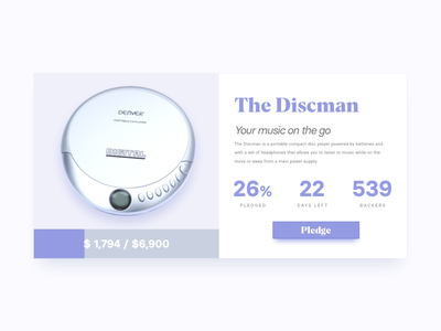 DailyUI #032 Crowdfunding Campaign discman page campaign crowdfunding dailyui