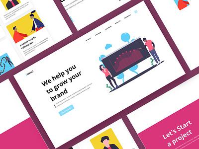 Social Media growth company landing page vector design flat web minimal typography ux branding ui illustration