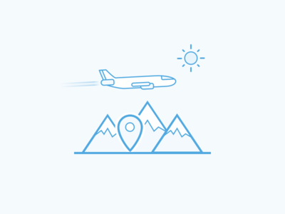 Travel Destinations sketch location pin airplane mountain blue flat illustration icon destination travel