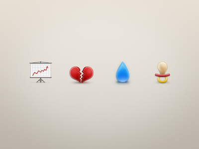 Infographic Icons chart heart water drop pacifier divorce birth icon debt