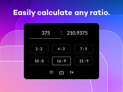 Sizey: Easily Calculate Any Ratio ratios aspect ratio ratio calculator ui geometry app mac ratio calculator calculating app design golden ratio gradient meritt thomas sizey sizey app merittthomas meritt