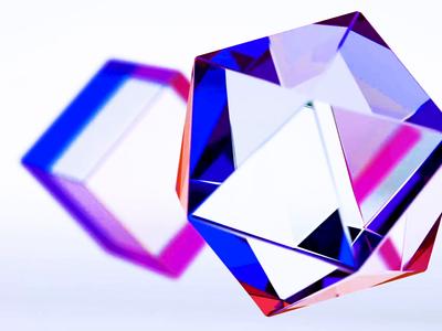 Glass superrgb srgbco modern clean future photorealistic redshift octane ae c4d 3d pink blue rainbow light prism clear glass merittthomas meritt
