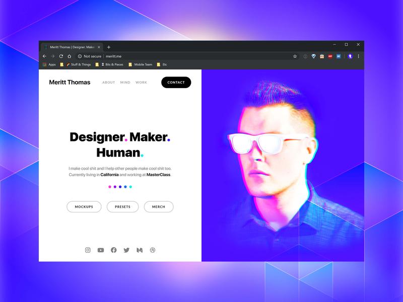 Portfolio Site Update merittthomas meritt branding portfolio design blue ui page homepage modern clean minimal portrait