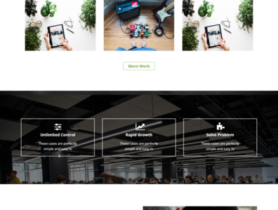 Features and recent project section of a site