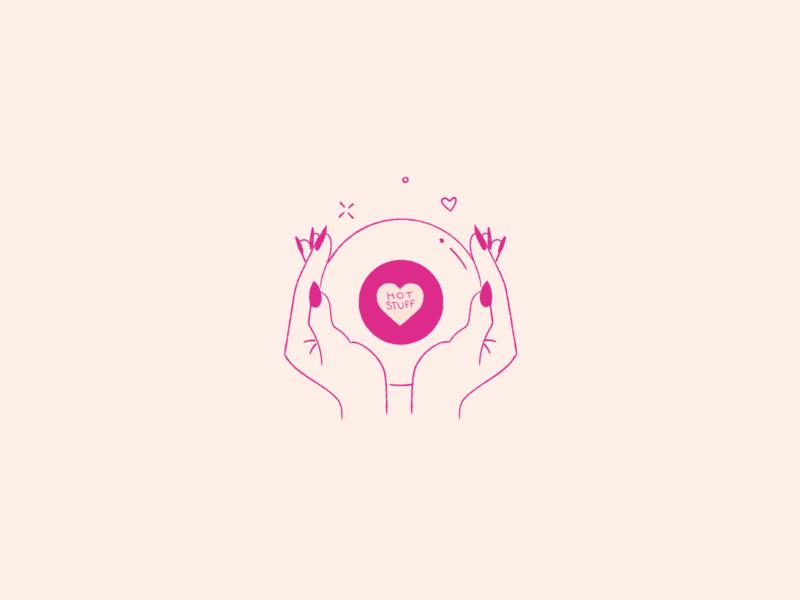 ILLUSTRATION | magic 8 ball dribbbleweeklywarmup vector art vector illustration illustrator design self love self care self-care self-love hearts heart hands handwritten handlettering lettering illustration