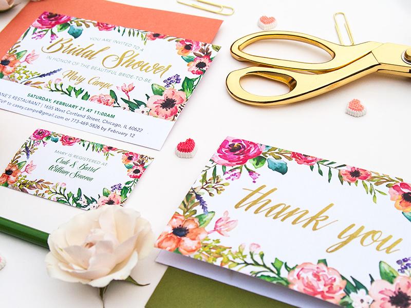 INVITATION | Feminine + Floral Bridal Shower Suite invitation watercolor wedding wedding invitation bridal bridal shower bridal shower invitation floral flowers glitter gold