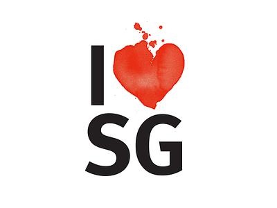 I ❤️SG branding design graphic logo design black and red drops ink heart illustration turism flyer logo tribute milton glaser