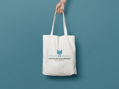 Hongkongarden type design meow papillon turquoise bag design shopper bag clothes kitten cat logo design logo