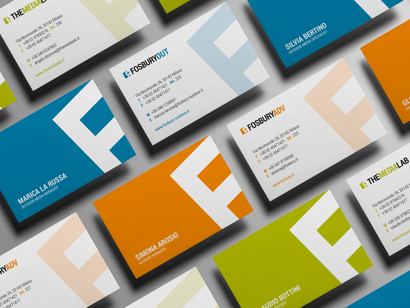 Fosbury letter variants brand assets brand agency fosbury business card branding design branding corporate branding brand identity