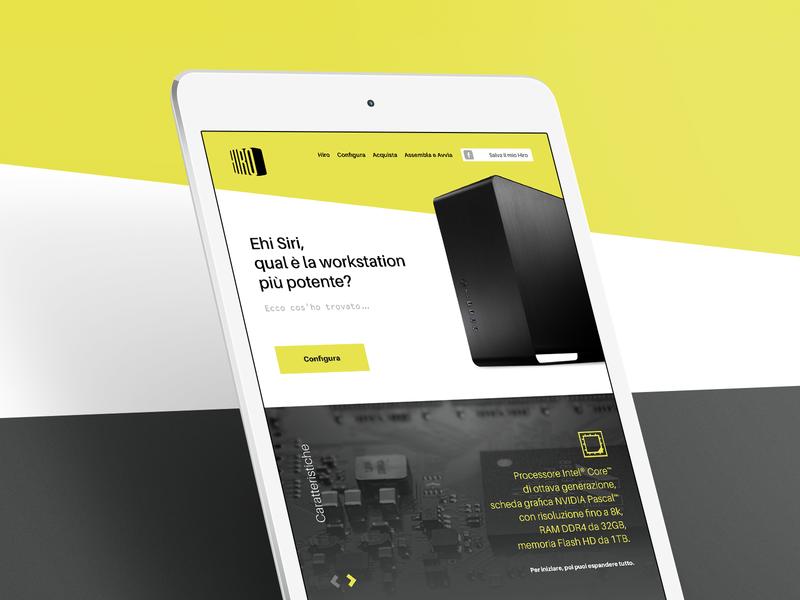 Hiro computer digital landing page yellow hackintosh mac responsive tablet flat design flat oblique diagonals website web webdesign