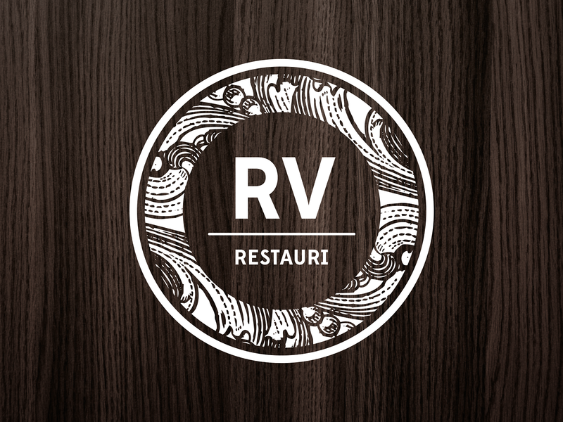 RV Restauri engraving wood burn pattern texture monogram logo monogram renovation wood logo design logotype logo