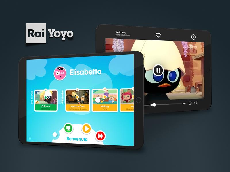 RAI Yoyo player channel tv television colors user interface interaction interaction design cartoon kids app kids tablet ipad ui design ui app yoyo rai