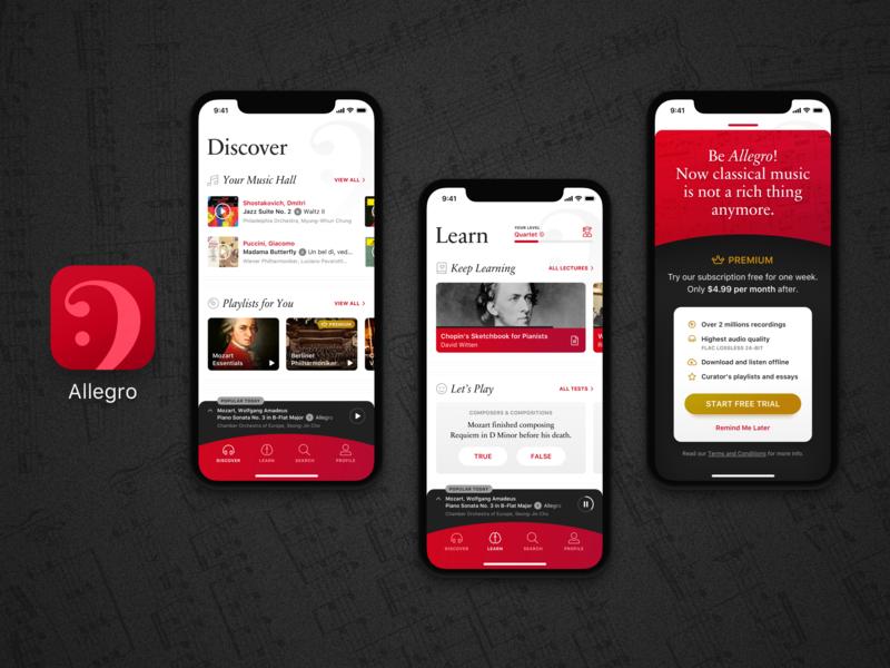 Classical Music App icon app music app icon app branding designflows music app design app classical music classical design interface user interface ui design ui app
