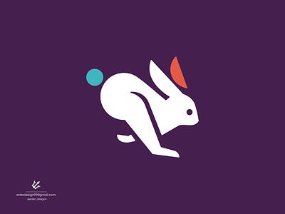 Rabbit rabbit animal vector ui illustration monogram logo branding letter simple elegant design logo