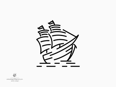 Boat line art boat vector ui illustration monogram logo branding letter simple elegant design logo