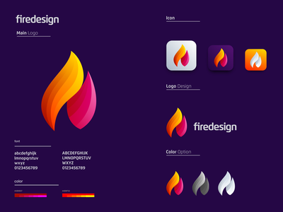 Fire colorful fire colorful vector ui illustration monogram logo branding letter simple elegant design logo