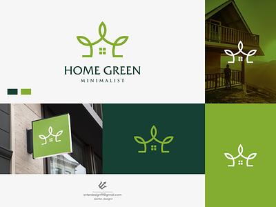 Home Leaf vector ui illustration monogram logo branding letter simple elegant design logo