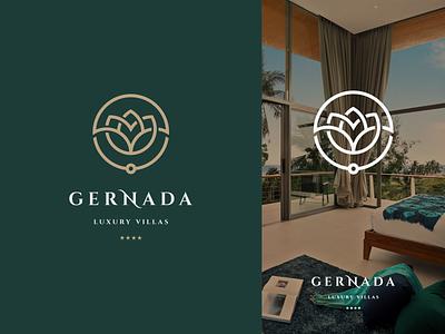 Luxury Lotus logo design vector ui illustration monogram logo branding letter simple elegant design logo