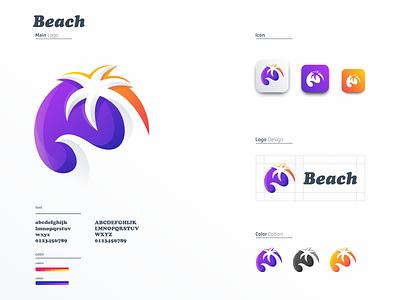 Beach Colorful Logo beach colorful animation sale logo icon graphic design 3d ui vector illustration monogram logo branding letter simple elegant design logo