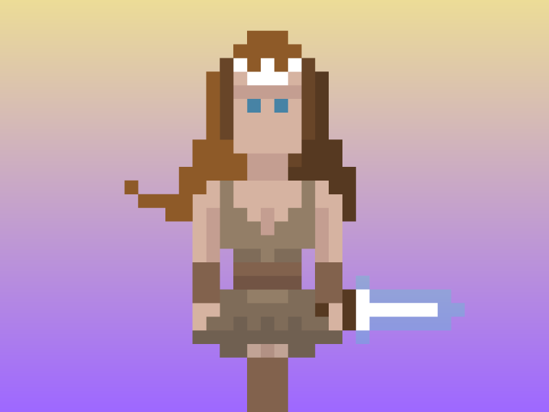 Lady Warrior sword girl lady warrior soldier woman fantasy character pixels pixel art illustration