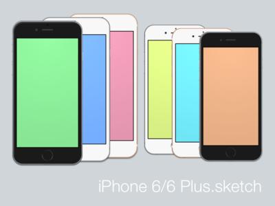 iPhone 6 & 6 Plus  freebie iphone sketch template vector free