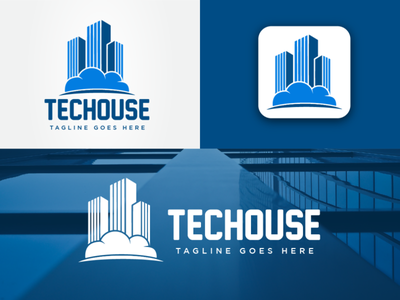 Tec-house Logo Design Idea flat app icon logo idea cloud with building logo building logo technology logo tech logo construction logodesign branding logo design icon logo