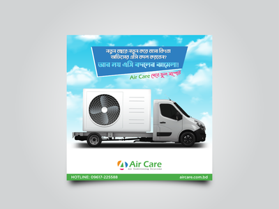 Air conditioner transport service post design banner design social media post design branding graphic design ad design