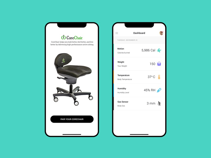 Corechair App bluetooth minimal mobile app ui ux iot healthcare exercise app obesity health