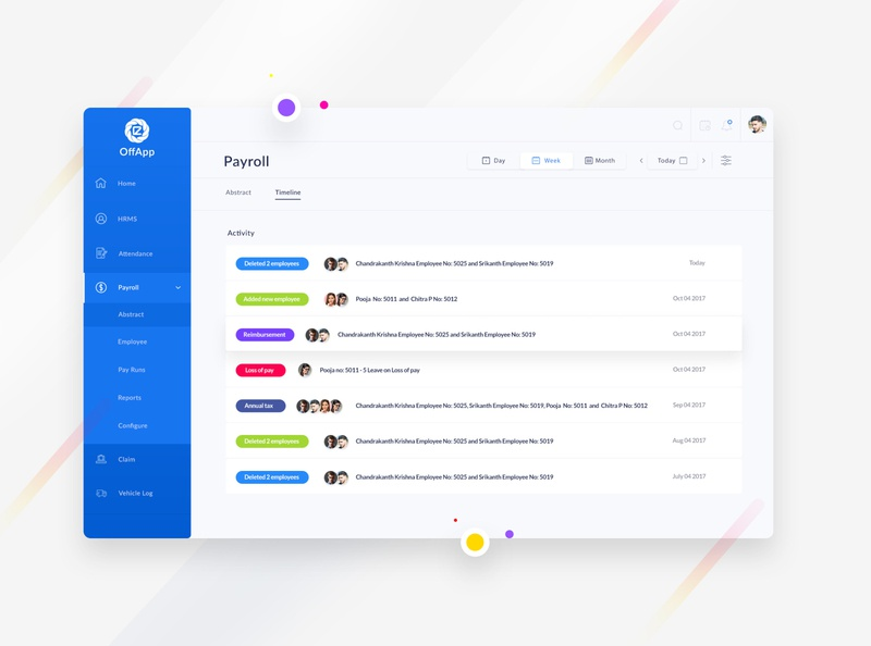 OffApp timeline uxdesign ui reports employee web app cms payment payroll