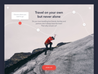 Simple yet powerful landing page for a travel startup