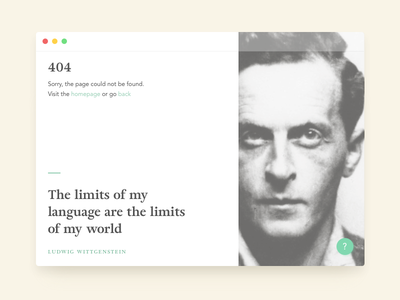 404 page with an inspiring quote web quote wittgenstein dailyui 404