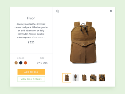 Quick view on a online store store shop e-commerce backpack ui dailyui