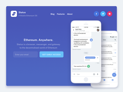 New website for Status app status product landing website site