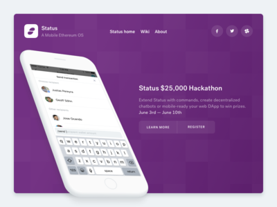 Status hackathon website web landing
