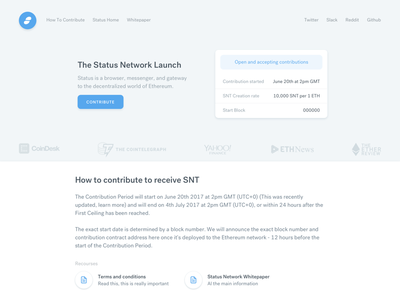 Status contribution page website web landing