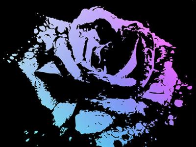20190720 Splattered Rose vectorart silhouette black purple blue flower gradient rose flat design vector illustration