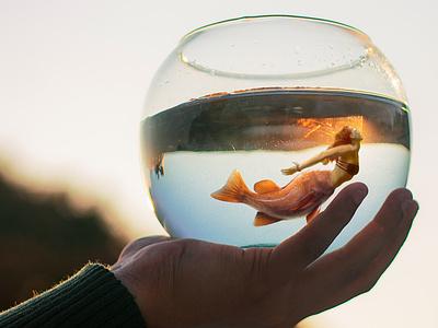Mermaid in a Fishbowl unsplash pexels composite photoedit goldfish mermaid fish photoshop photomanipulation