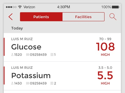Critical Results doctor mobile ios medical flat results test laboratory lab health ui app