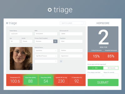 Triage Interface design ui healthcare hospital medical triage