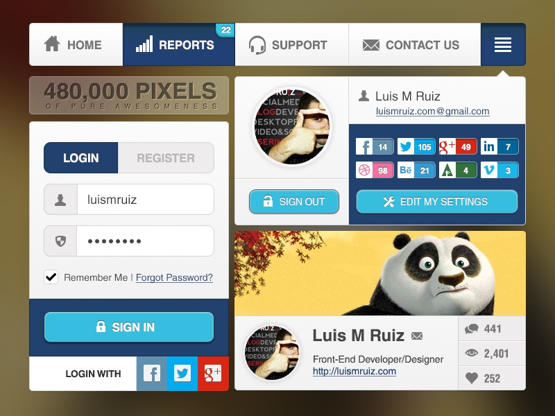 Awesomeness UI Widgets - Free PSD ui interface free download gui psd resources freebie navigation kit menu widgets login