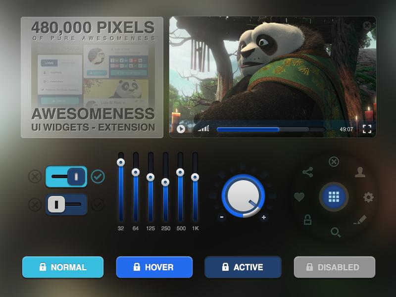 Awesomeness Ui Widgets Extension - Free Psd ui interface gui freebie psd free login download kit menu navigation resources widgets