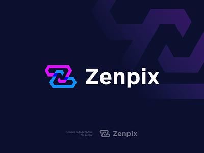 Zenpix Logo design clean logo design logotech techlogo technologylogo companylogo graphic design branding logo