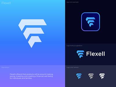 Flexell Logo technology minimal financial logo logo design branding design graphic design logo