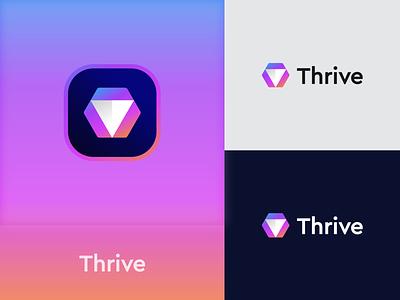 Thrive Logo company technology techlogo logo design graphic design logo branding