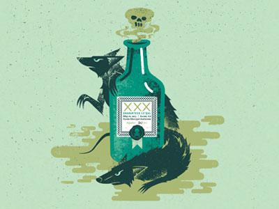 Rat Poison illustration poster gigposter texture distress rats poison bottle skull toxin badass