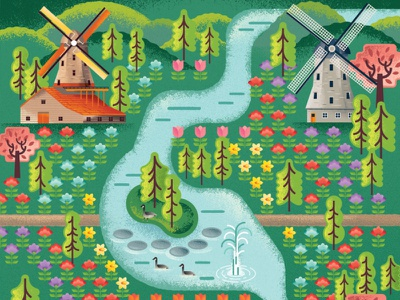 Two Dots Garden Map tree carnation daffodil tulip windmills pond river flowers plants garden videogame two dots map illustration