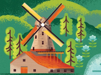 Two Dots Windmill detail illustrations trees flowers building netherlands windwill garden nature map illustration